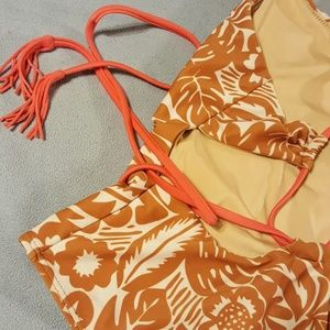 Anthropologie Swim - Seea Camel/White Tropical Suit W/Pink Straps/Belt